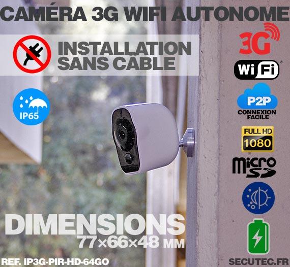 Smart caméra alarme 3G Wi-Fi HD 1080P, 64Go