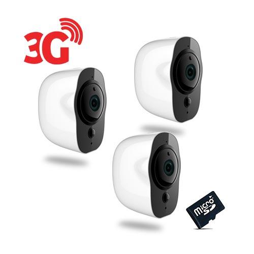Kit de 3 Smart caméra alarme 3G Wi-Fi HD 1080P, 64Go