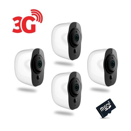 Kit de 4 Smart caméra alarme 3G Wi-Fi HD 1080P, 64Go