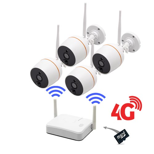 Kit vidéosurveillance 4G avec 4 caméras Wi-Fi HD 1080P