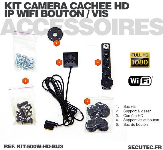 Kit micro caméra bouton ou vis Full HD 1080P