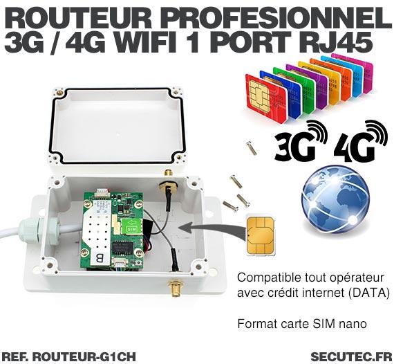 Routeur professionnel GSM 3G / 4G connexion Wi-Fi et 1 port Ethernet