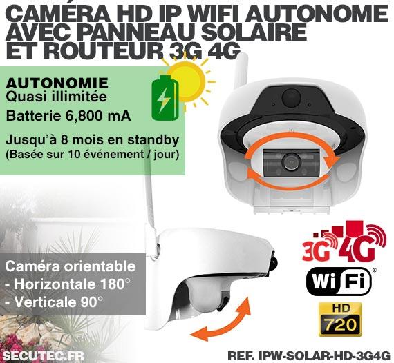 Caméra solaire 3G 4G IP WiFi extérieure