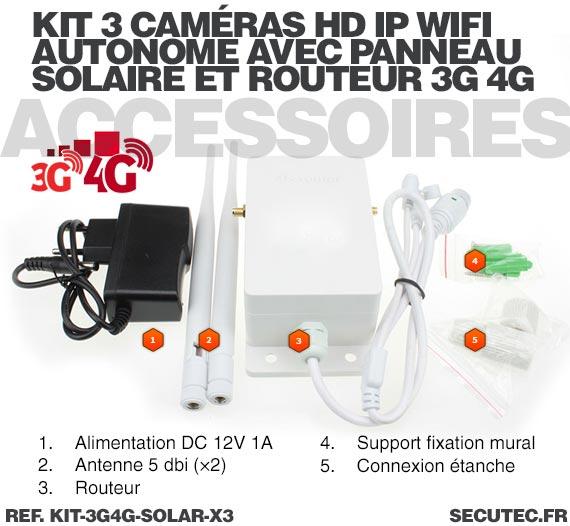 Kit 3 caméras solaires 3G 4G IP / WiFi extérieures HD720P