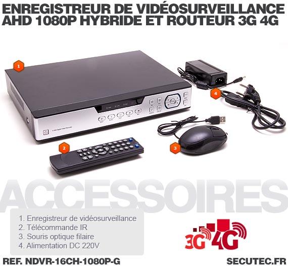 Enregistreur de vidéosurveillance 3G/4G hybride 16/16 voies IP / AHD 1080P avec 1 To