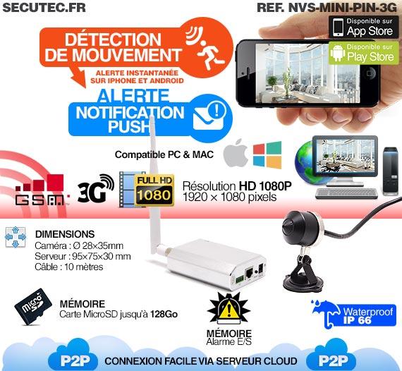 Micro caméra 3G Waterproof capteur pinhole HD 1080P