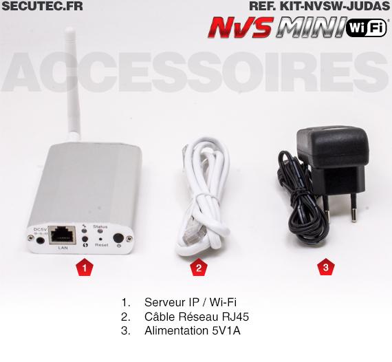 Kit caméra judas IP WI-FI avec mini serveur enregistreur mémoire 64 Go