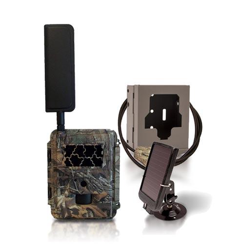 Caméra solaire de chasse autonome 4G HD 8MP IR invisible, cryptage 256 bits avec box anti-vandale & panneau solaire