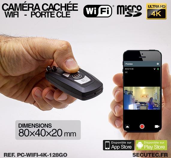 Clé de voiture caméra cachée WIFI Ultra HD 4K avec carte MIcroSD 128 Go