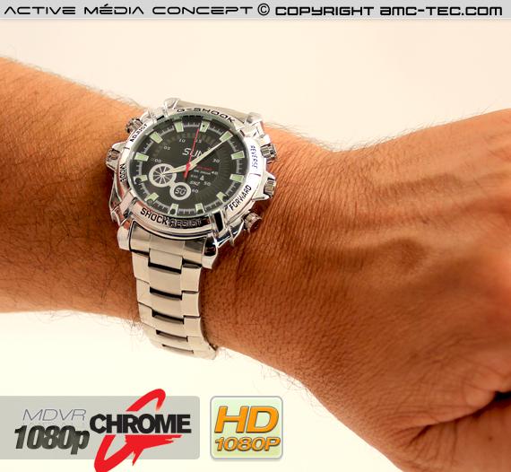 Montre Sport antichoc Etanche caméra audio vidéo HD 1080p 16Go avec infrarouge invisible