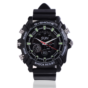 Montre Sport anti-choc étanche caméra audio vidéo HD 1080p 16Go avec infrarouge invisible