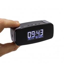 Horloge réveil alarme micro caméra IP WiFi HD avec vision nocturne microSD 128 Go incluse