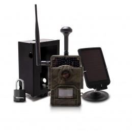 Caméra de chasse solaire HD 1080P IR invisible GPS GSM 4G alerte photo vidéo iOS Android serveur cloud avec batterie et box
