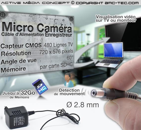Câble Jack micro caméra couleur 2.8 mm avec detection