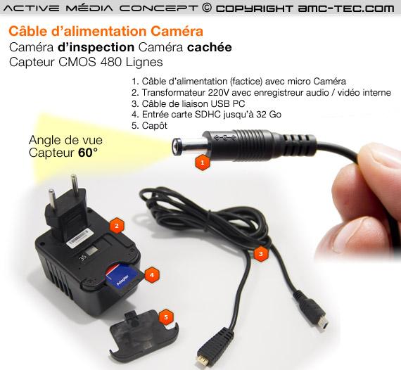 Câble Jack micro caméra avec detection de mouvement